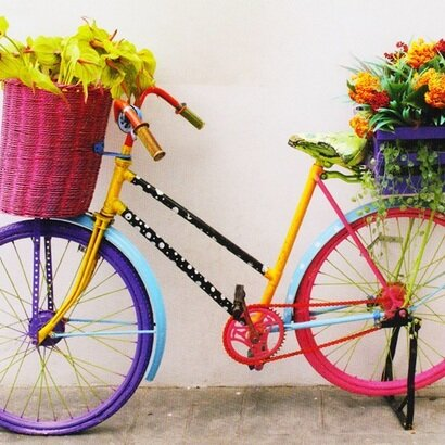Cestitka colored bicycle with flowers