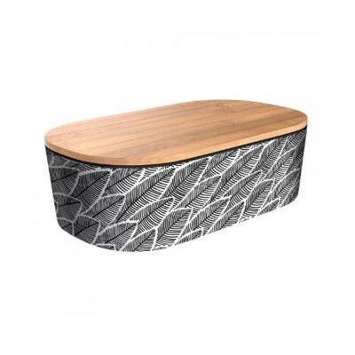 Deluxe bamboo kutija za ručak leaves black white