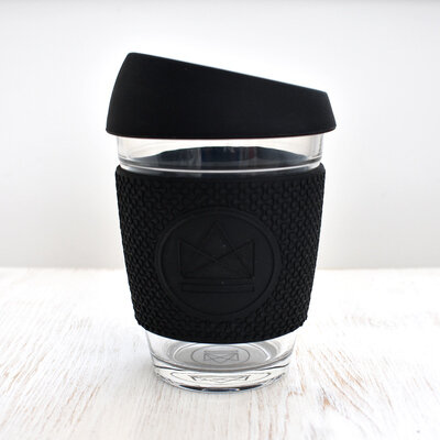Reusable glass coffee cup black neon cactus