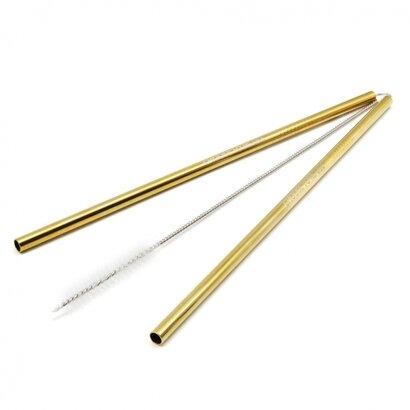 Slamke od nehrđajučeg čelika s četkicom zlatne 2 kom