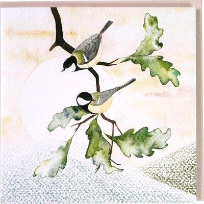 Čestitka two birds on a twig