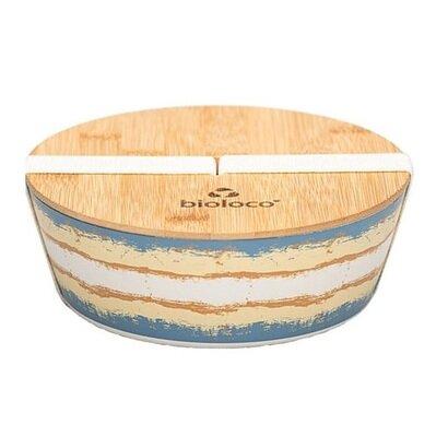 Ovalna deluxe bamboo kutija za ručak plavo smeda