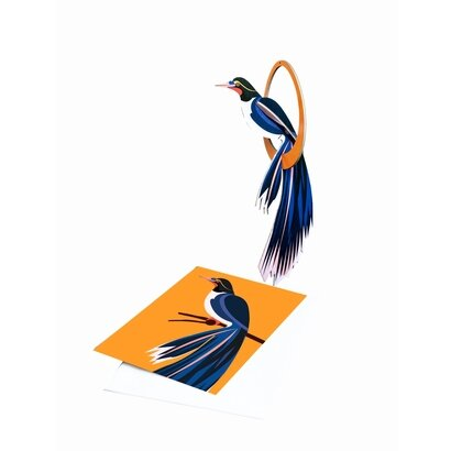 Pop out čestitka i ukras egzotična ptica