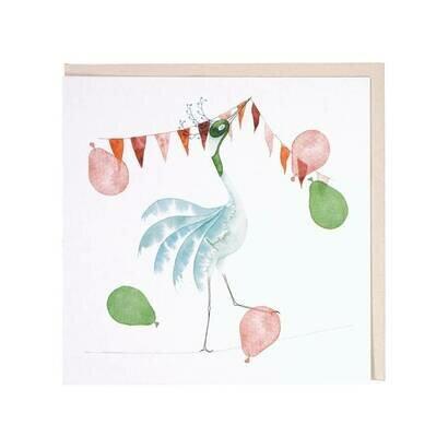 Čestitka bird with baloons